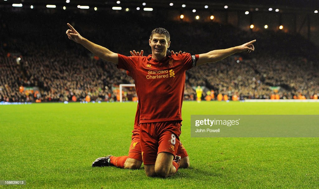 Steven Gerrard of Liverpool celebrates after scoring the second goal during the Barclays Premier League match between liverpool and Fulham at Anfield on December 22, 2012 in Liverpool, England.
