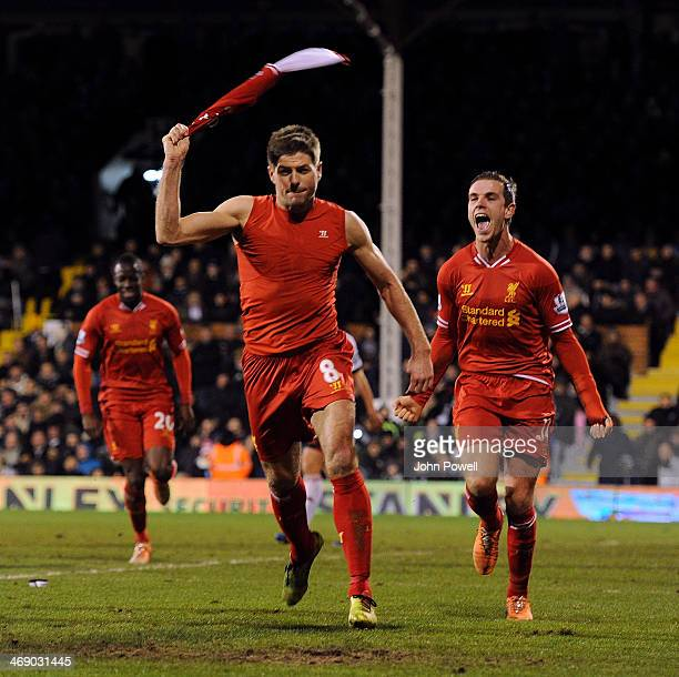 Steven Gerrard of Liverpool celebrates after scoring the winning goal during the Barclays Premier Leauge match between Fulham and Liverpool at Craven...