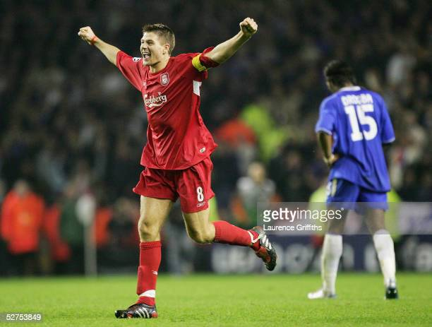Steven Gerrard of Liverpool celebrates at the end of the UEFA Champions League semifinal second leg match between Liverpool and Chelsea at Anfield on...