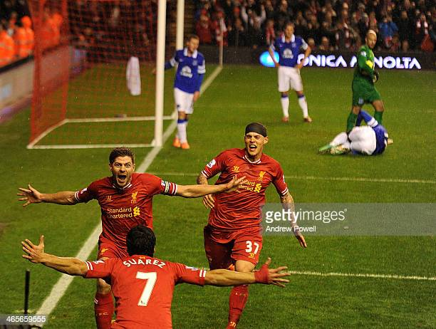 Steven Gerrard of Liverpool celebrates his goal during the Barclays Premier League match between Liverpool and Everton at Anfield on January 28 2014...