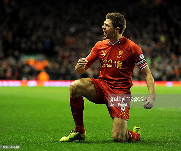 Steven Gerrard of Liverpool celebrates his goal during the Barclays Premier Leauge match between Liverpool and Sunderland at Anfield on March 26 2014...