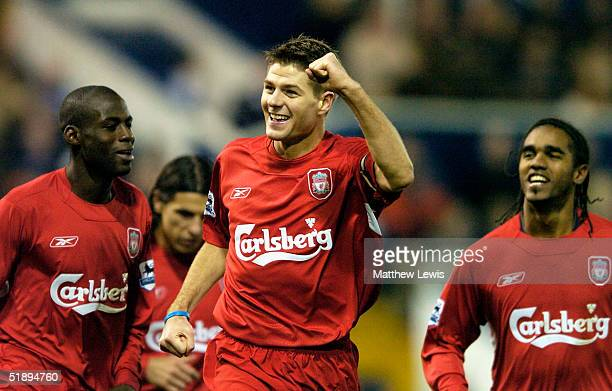 Steven Gerrard of Liverpool celebrates his goal during the FA Barclaycard Premiership match between West Bromwich Albion and Liverpool at the...