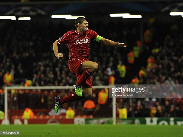 Steven Gerrard of Liverpool celebrates his goal during the UEFA Champions League match between Liverpool FC and FC Basel 1893 on December 9 2014 in...