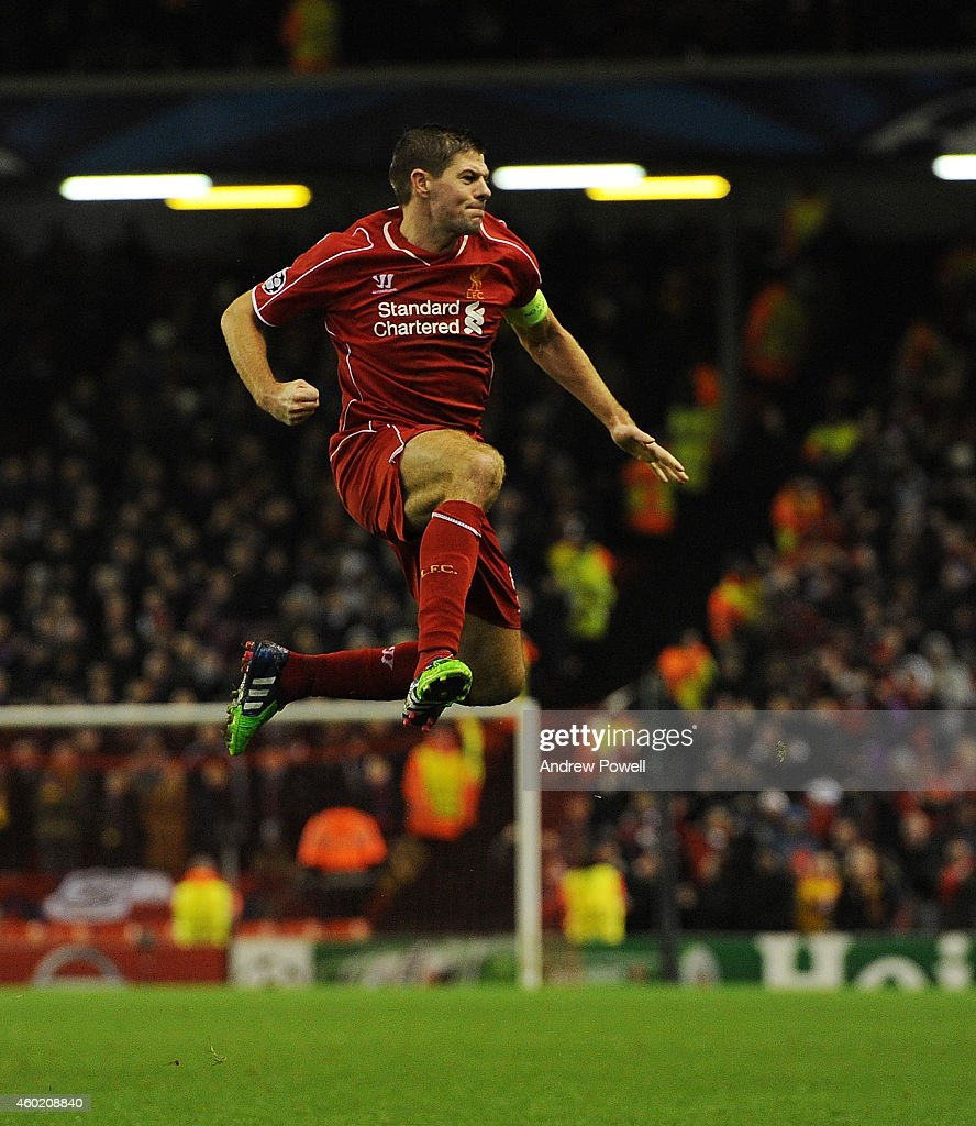 Steven Gerrard of Liverpool celebrates his goal during the UEFA Champions League match between Liverpool FC and FC Basel 1893 on December 9, 2014 in Liverpool, United Kingdom.