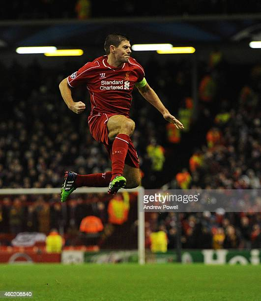Steven Gerrard of Liverpool celebrates his goal during the UEFA Champions League match between Liverpool FC and FC Basel 1893 on December 9, 2014 in...