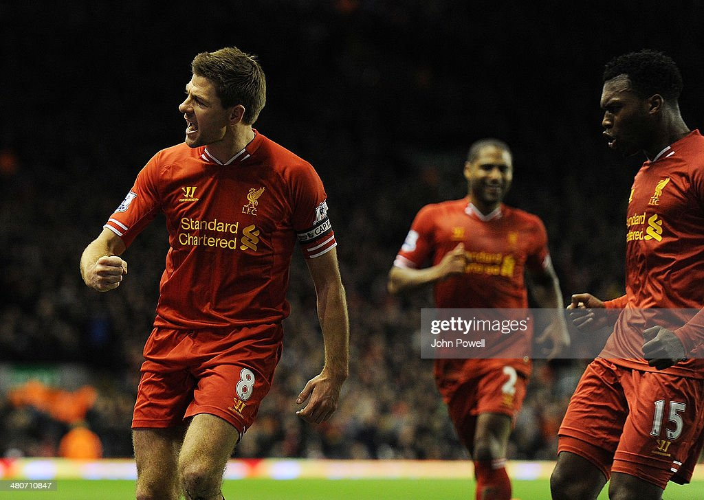 Steven Gerrard of Liverpool celebrates his goal with Daniel Sturridge during the Barclays Premier Leauge match between Liverpool and Sunderland at Anfield on March 26, 2014 in Liverpool, England.
