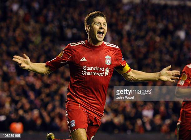 Steven Gerrard of Liverpool celebrates his third goal during the UEFA Europa League match between Liverpool and SSC Napoli at Anfield on November 4...