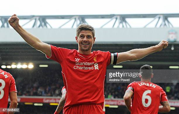 Steven Gerrard of Liverpool celebrates his winning goal during the Barclays Premier League match between Liverpool and Queens Park Rangers at Anfield...