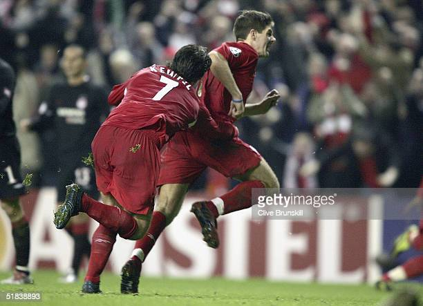 Steven Gerrard of Liverpool celebrates his winning goal during the Champions League Group A match between Liverpool and Olympiakos at Anfield on...
