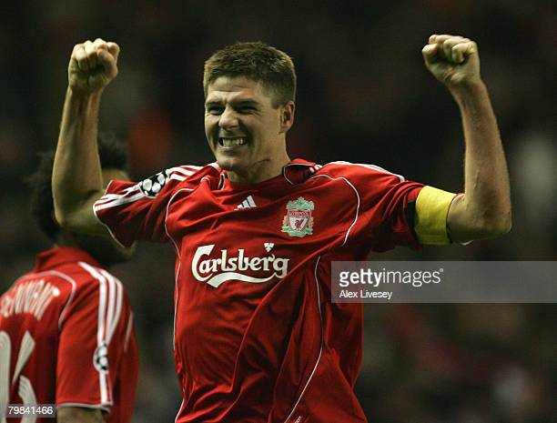 Steven Gerrard of Liverpool celebrates scoring his team's second goal during the UEFA Champions League First Knockout Round First Leg match between...