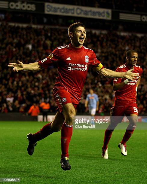 Steven Gerrard of Liverpool celebrates scoring his team's third goal and hs hat trick during the UEFA Europa League Group K match beteween Liverpool...
