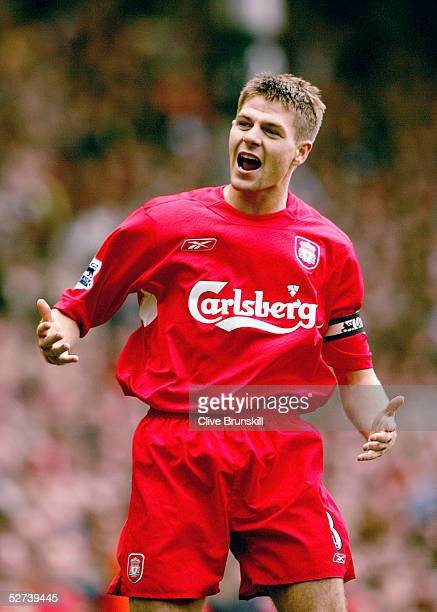 Steven Gerrard of Liverpool celebrates scoring the equalizing goal during the Barclays Premiership match between Liverpool and Middlesbrough at...