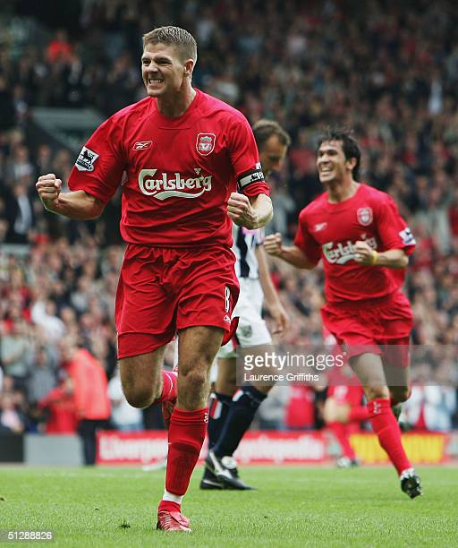 Steven Gerrard of Liverpool celebrates scoring the opening goal during the FA Barclays Premiership match between Liverpool and West Bromwich Albion...