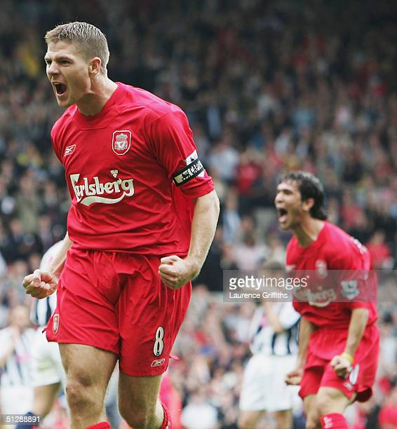 Steven Gerrard of Liverpool celebrates scoring the opening goal with Luis Garcia during the FA Barclays Premiership match between Liverpool and West...