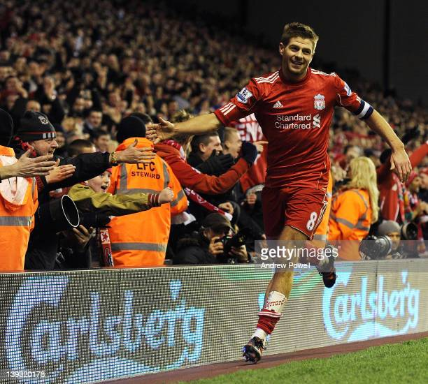 Steven Gerrard of Liverpool celebrates the fourth goal during the FA Cup Fifth round match between Liverpool and Brighton and Hove Albion at Anfield...