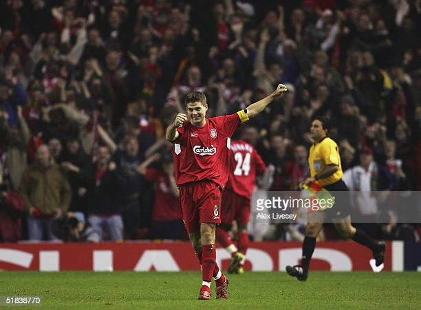 Steven Gerrard of Liverpool celebrates victory over Olympiakos after the Champions League Group A match between Liverpool and Olympiakos at Anfield...