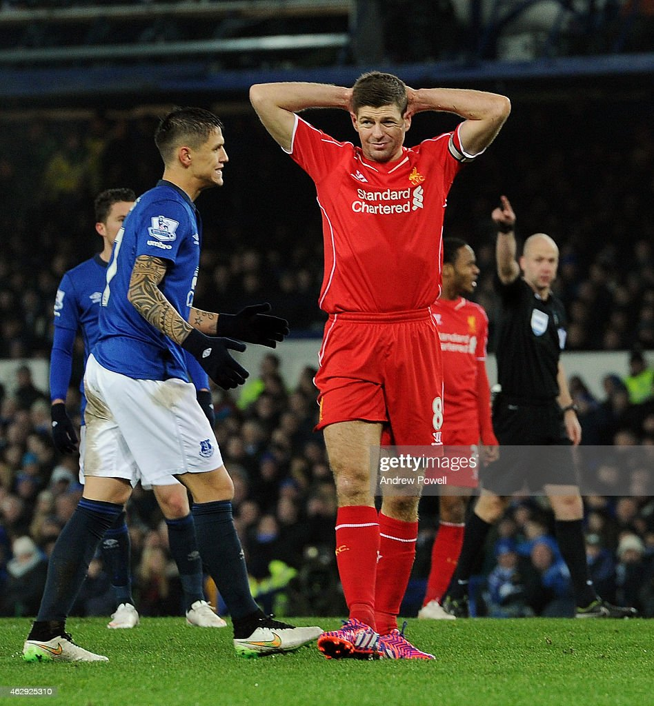 Steven Gerrard of Liverpool dejected during the Barclays Premier League match between Everton and Liverpool at Goodison Park on February 7, 2015 in Liverpool, England.
