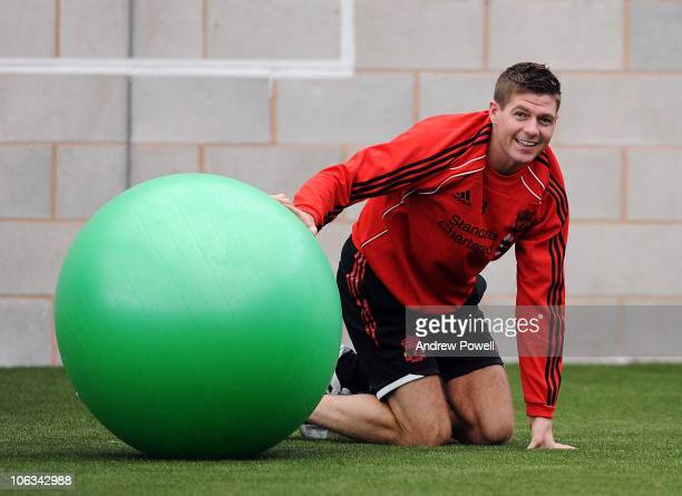 Steven Gerrard of Liverpool during a Liverpool FC training session at Melwood training ground on October 29 2010 in Liverpool England