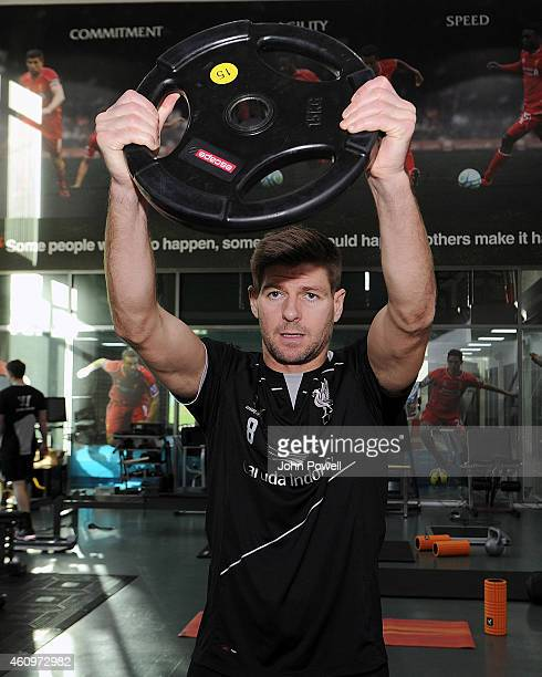 Steven Gerrard of Liverpool during a training session at Melwood Training Ground on January 2 2015 in Liverpool England