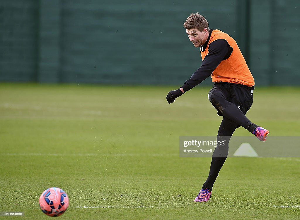 Steven Gerrard of Liverpool during a training session at Melwood Training Ground on February 2, 2015 in Liverpool, England.