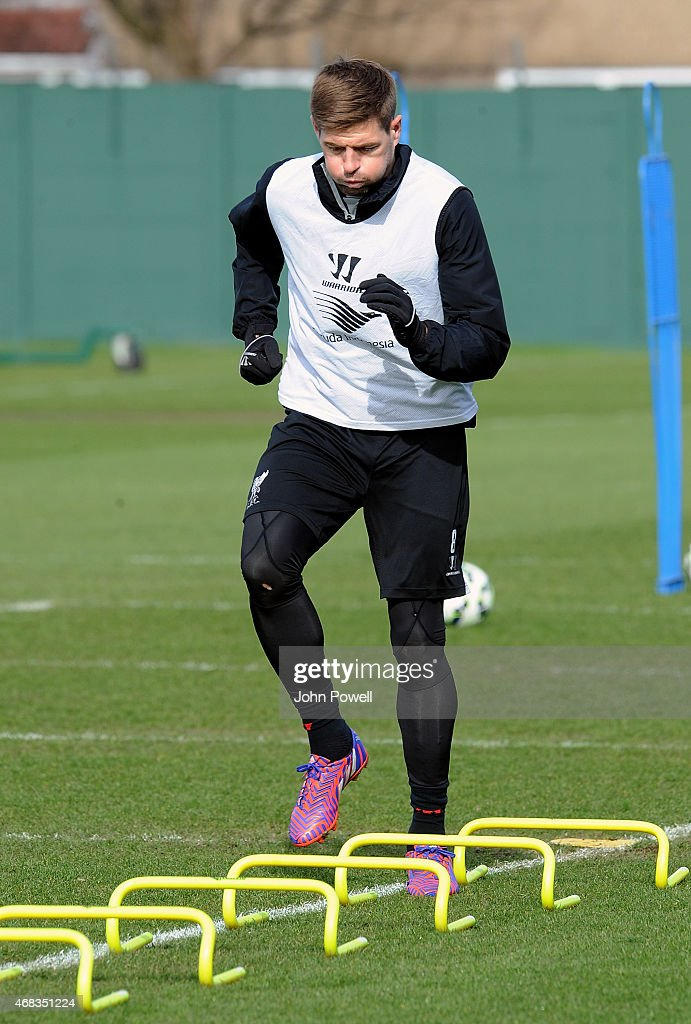 Steven Gerrard of Liverpool during a training session at Melwood Training Ground on April 2, 2015 in Liverpool, England.