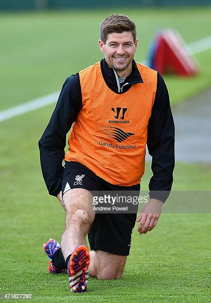 Steven Gerrard of Liverpool during a training session at Melwood Training Ground on April 30, 2015 in Liverpool, England.