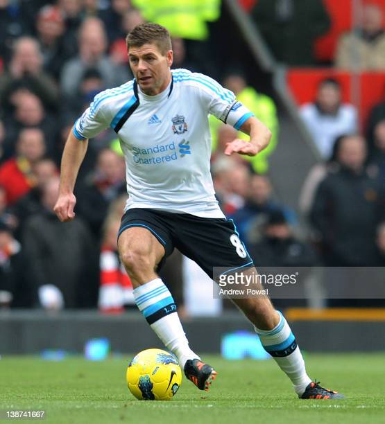 Steven Gerrard of Liverpool during the Barclays Premier League match between Manchester United and Liverpool at Old Trafford on February 11 2012 in...