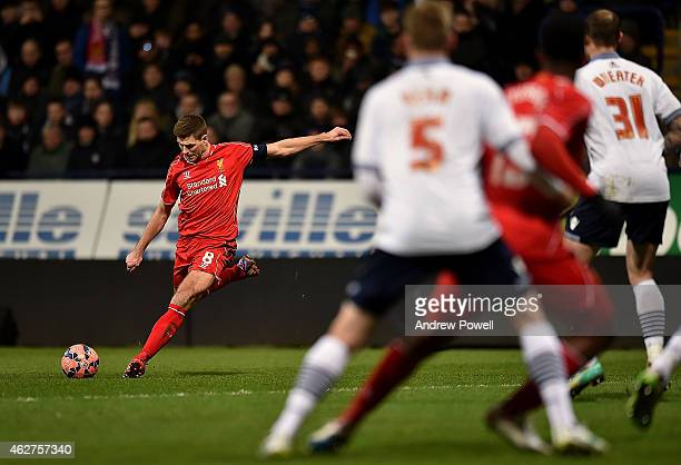 Steven Gerrard of Liverpool during the FA Cup Fourth Round Replay match between Bolton Wanderers and Liverpool at Macron Stadium on February 4 2015...