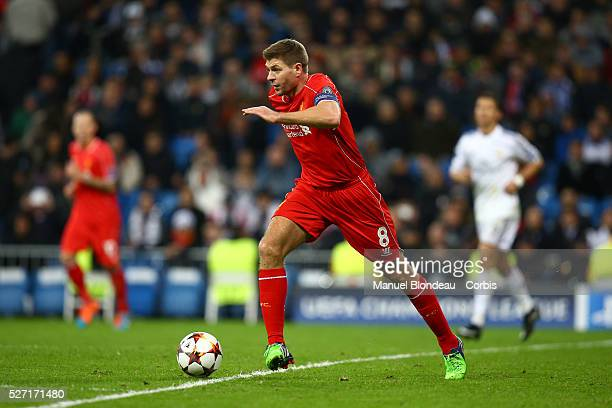 Steven Gerrard of Liverpool FC during the UEFA Champions League Group B football match between Real Madrid CF and Liverpool FC at the Santiago...