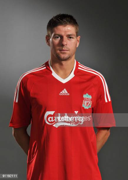 Steven Gerrard of Liverpool FC poses during a Liverpool FC 2009/2010 season photocall in Liverpool England