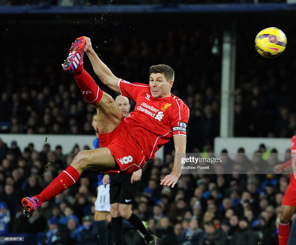 Steven Gerrard of Liverpool goes for a over-head kick during the Barclays Premier League match between Everton and Liverpool at Goodison Park on February 7, 2015 in Liverpool, England.