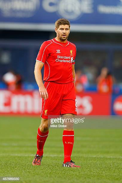 Steven Gerrard of Liverpool in action against Manchester City during the International Champions Cup 2014 at Yankee Stadium on July 30 2014 in the...