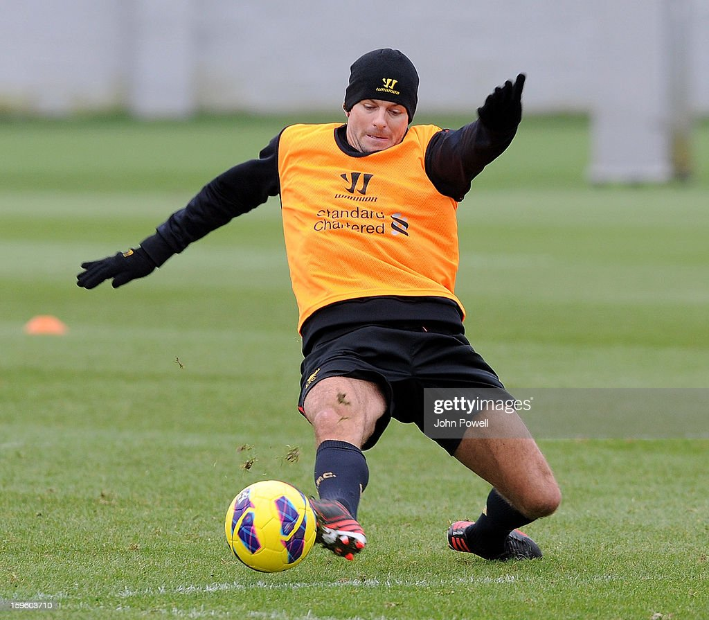 Steven Gerrard of Liverpool in action during a training session at Melwood Training Ground on January 17, 2013 in Liverpool, England.