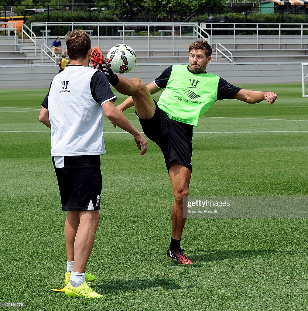 Steven Gerrard of Liverpool in action during a training session at Princeton University on July 29, 2014 in Princeton, New Jersey.