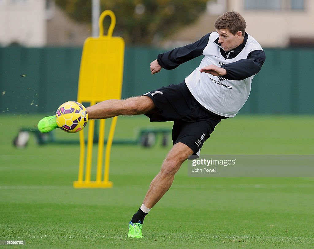 Steven Gerrard of Liverpool in action during a training session at Melwood Training Ground on October 30, 2014 in Liverpool, England.