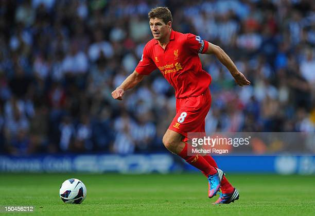 Steven Gerrard of Liverpool in action during the Barclays Premier League match between West Bromwich Albion and Liverpool at The Hawthorns on August...