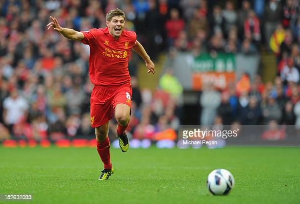 Steven Gerrard of Liverpool in action during the Barclays Premier League match between Liverpool and Manchester United at Anfield on September 23...