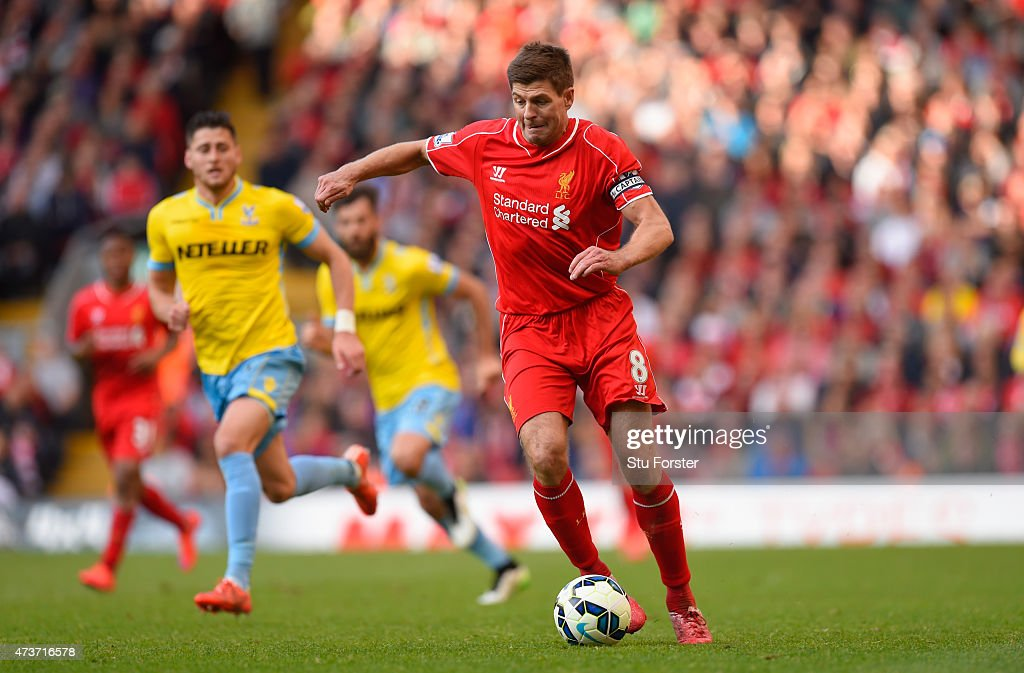 Steven Gerrard of Liverpool in action during the Barclays Premier League match betrween Liverpool and Crystal Palace at Anfield on May 16, 2015 in Liverpool, England.