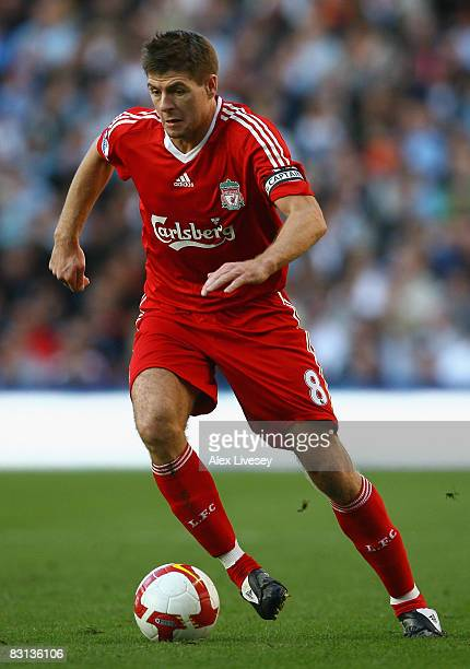 Steven Gerrard of Liverpool in action during the Barclays Premier League match between Manchester City and Liverpool at The City of Manchester...