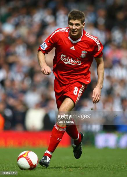Steven Gerrard of Liverpool in action during the Barclays Premier League match between Liverpool and Newcastle United at Anfield on May 3, 2009 in...