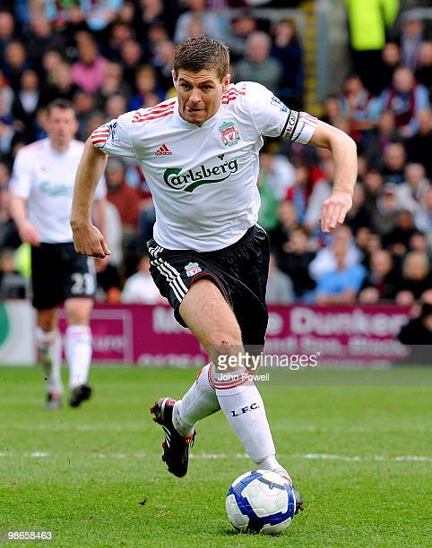 Steven Gerrard of Liverpool in action during the Barclays Premier League match between Burnley and Liverpool at Turf Moor on April 25 2010 in Burnley...