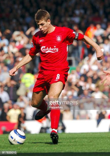 Steven Gerrard of Liverpool in action during the Barclays Premiership match between Liverpool and Manchester United at Anfield in Liverpool on...