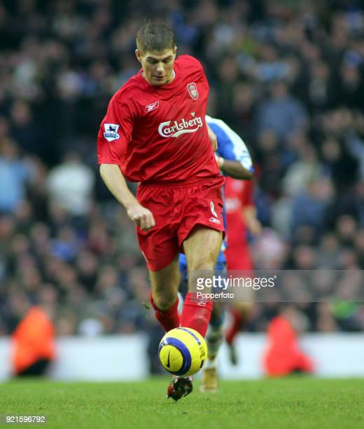 Steven Gerrard of Liverpool in action during the Barclays Premiership match between Liverpool and Wigan Athletic at Anfield in Liverpool on December...