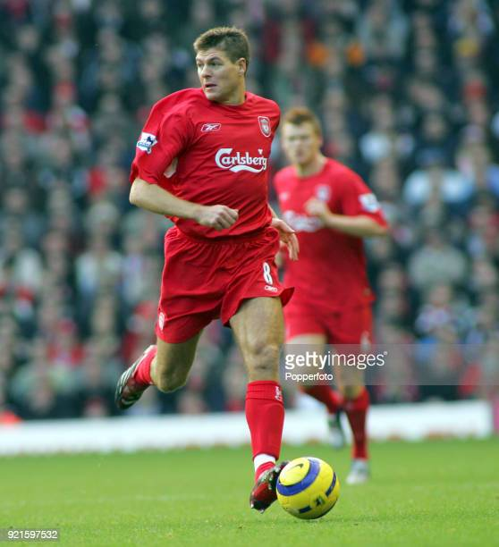 Steven Gerrard of Liverpool in action during the Barclays Premiership match between Liverpool and Middlesbrough at Anfield in Liverpool on December...