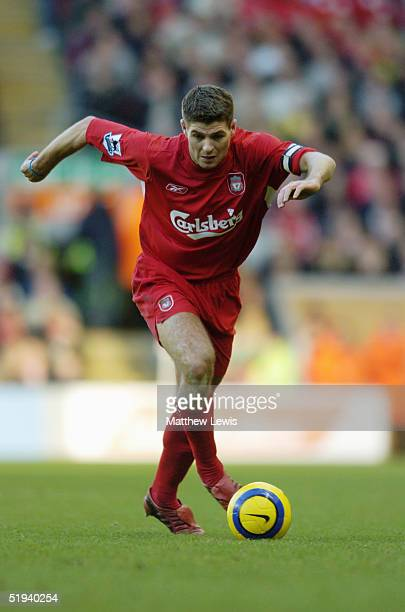 Steven Gerrard of Liverpool in action during the FA Barclaycard Premiership match between Liverpool and Newcastle United at Anfield on December 19...