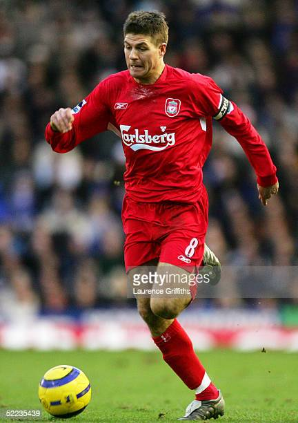 Steven Gerrard of Liverpool in action during the FA Barclays Premiership match between Birmingham City and Liverpool at St Andrews on February 12...