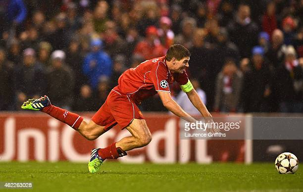 Steven Gerrard of Liverpool in action during the UEFA Champions League Group B match between Liverpool and FC Basel on December 9 2014 in Liverpool...