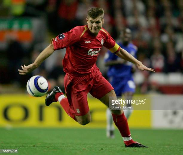 Steven Gerrard of Liverpool in action during the UEFA Champions League Group G match between Liverpool v Chelsea at Anfield on September 28, 2005 in...