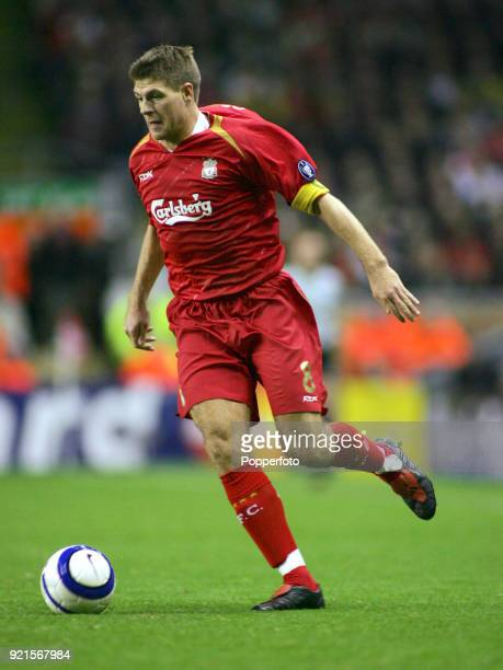Steven Gerrard of Liverpool in action during the UEFA Champions League group G match between Liverpool and Anderlecht at Anfield in Liverpool on...