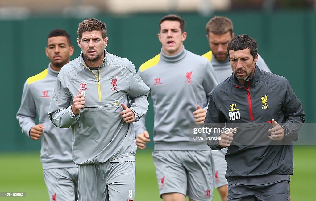 Steven Gerrard of Liverpool leads from the front during a training session ahead of their UEFA Champions League group B match against PFC Ludogorets on September 15, 2014 in Liverpool, United Kingdom.